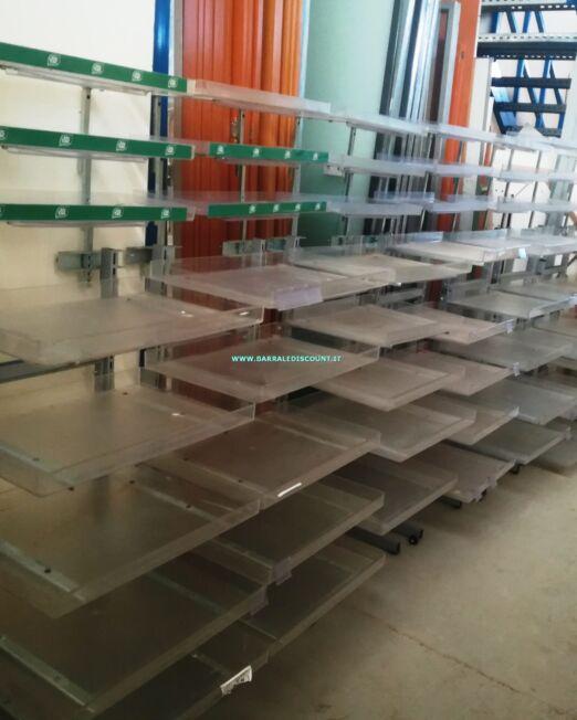 Espositore per negozio con ripiani a vasca in plexiglas regolabili formato 60 x 70 x 160 cm ideale per esposizione caramelle e varie